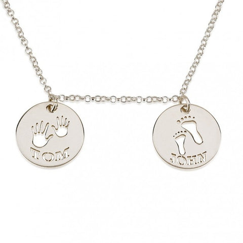 Sterling Silver Two Circle Necklace with Cut Out Names - jeweleen - 1