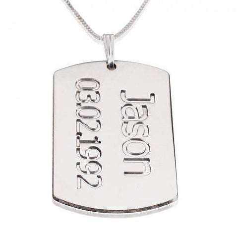 Sterling Silver Dog Tag Plate with Name and Date - jeweleen - 1