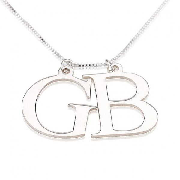 Sterling Silver Two Initial Necklace - jeweleen - 1