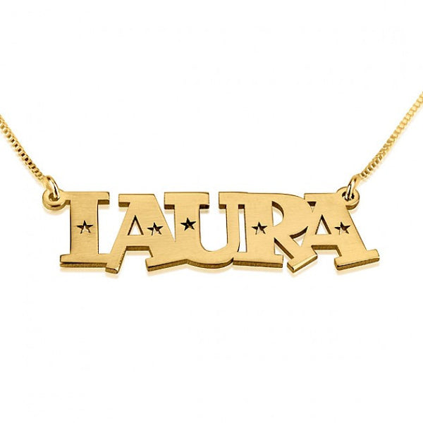 24K Gold Plated Stars Name Necklace - jeweleen - 1