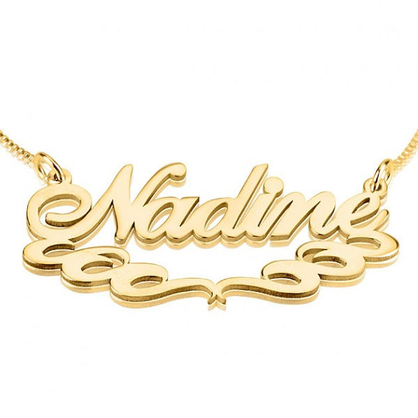 24K Gold Plated Special Curls Name Necklace - jeweleen - 1