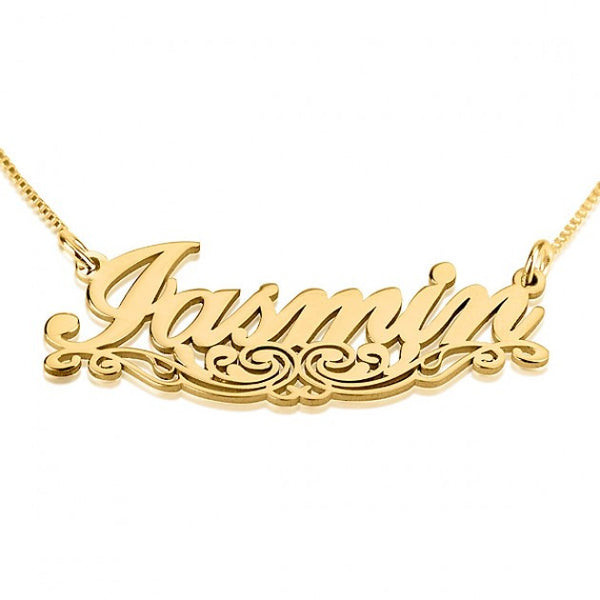 24K Gold Plated Unique Line Name Necklace - jeweleen - 1