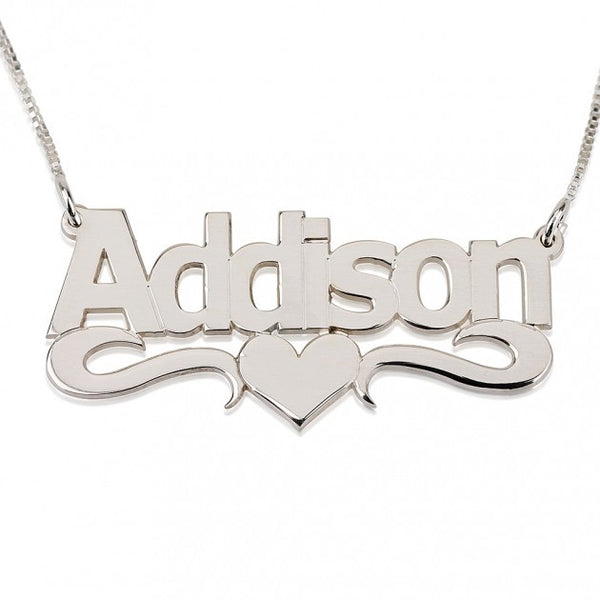 Bold Print with Heart Name Necklace - jeweleen - 1
