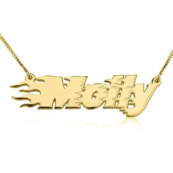 24K Gold Plated Fire Line Name Necklace - jeweleen - 1