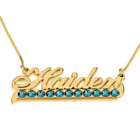 24K Gold Plated Color Name Necklace with Swarovski Crystal - jeweleen - 1