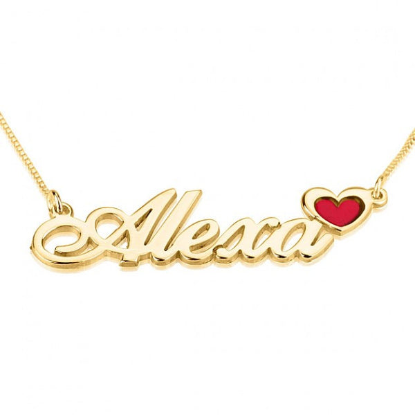 24K Gold Plated Color Name Necklace with Heart - jeweleen - 1