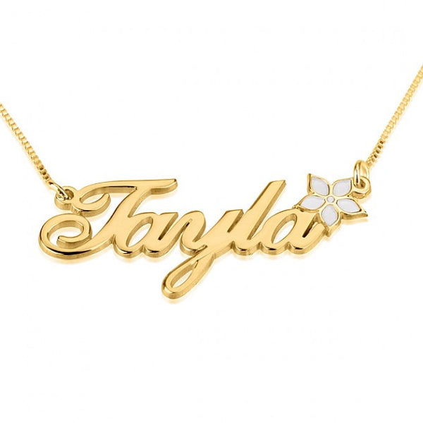 24K Gold Plated Color Name Necklace with Flower - jeweleen - 1