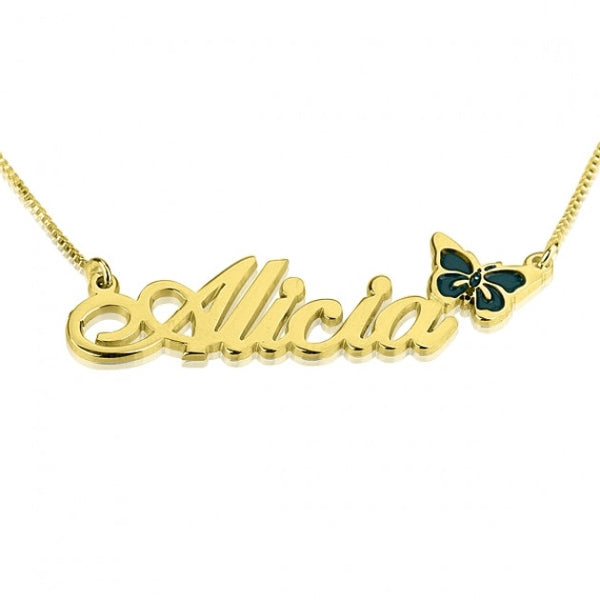 24K Gold Plated Color Name Necklace with Butterfly - jeweleen - 1