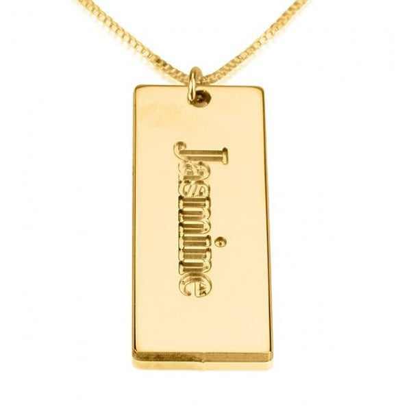 24K Gold Plated Nameplate Pendant - jeweleen - 1
