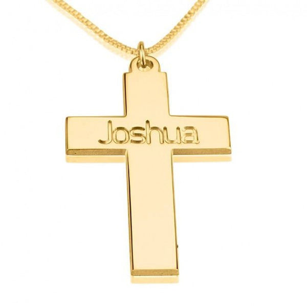 24K Gold Plated Cross Necklace with Name - jeweleen - 1