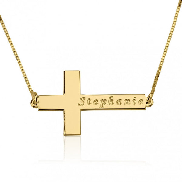 24K Gold Plated Sideway Cross Necklace with Name - jeweleen - 1