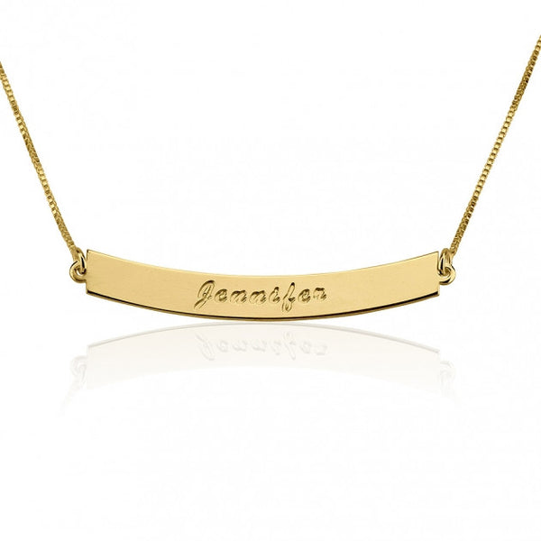 24K Gold Plated Curved Bar Necklace with Name - jeweleen - 1