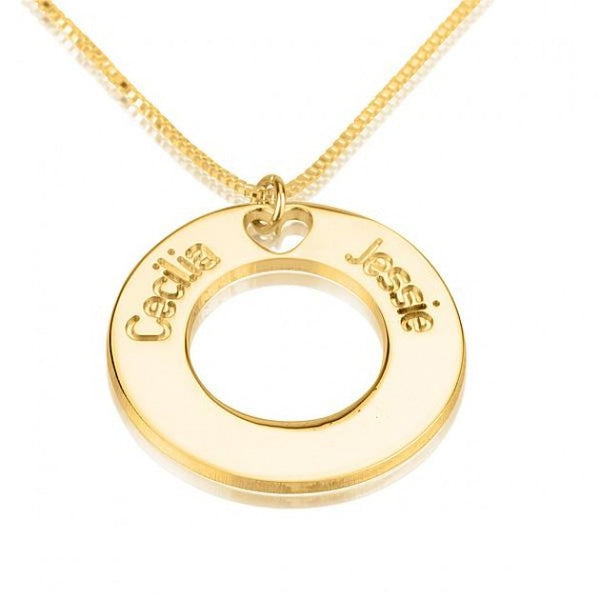 24K Gold Plated Circle Necklace with Two Names - jeweleen - 1