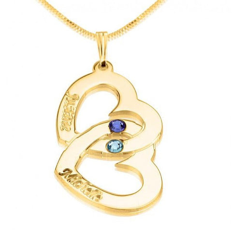 24K Gold Plated Two Hearts Swarovski Crystal with Two Names - jeweleen - 1