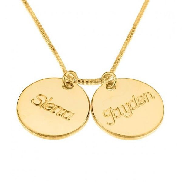 24K Gold Plated Two Circle Necklace with Names - jeweleen - 1