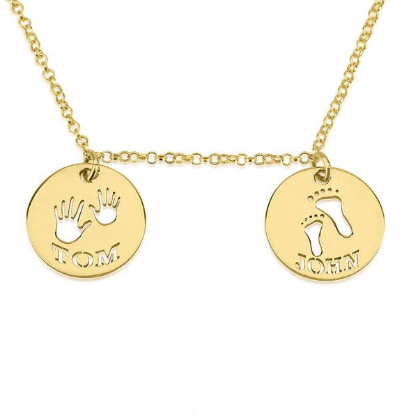 24K Gold Plated Two Circle Necklace with Cut Out Names - jeweleen - 1