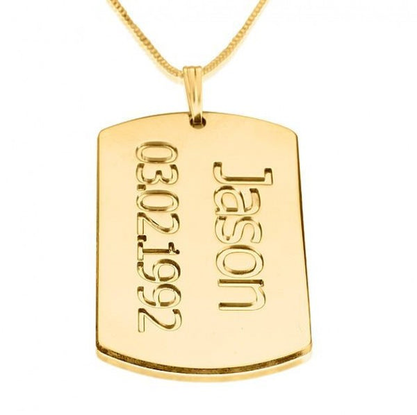 24K Gold Plated Dog Tag Plate with Name and Date - jeweleen - 1