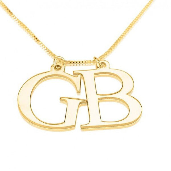24K Gold Plated Two Initial Necklace - jeweleen - 1