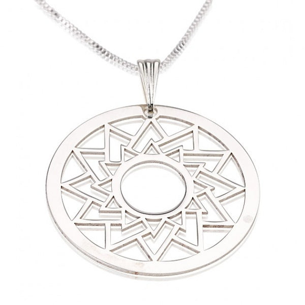 Sterling Silver Crop Circle Triangle Necklace - jeweleen - 1