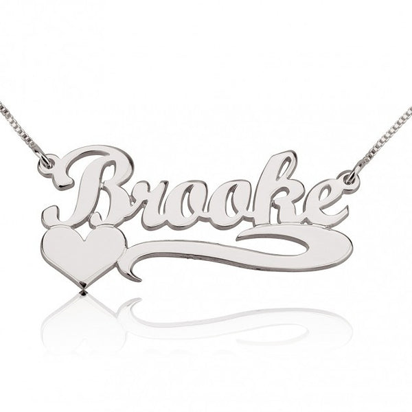 Handwritten with Side Heart Name Necklace - jeweleen - 1
