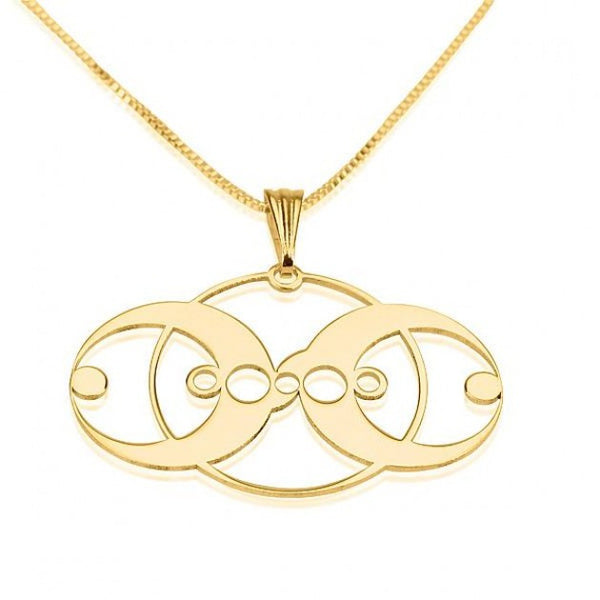 24k Gold Plated Crop Circle 3 Circles Necklace - jeweleen - 1