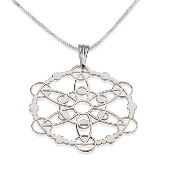 Sterling Silver Crop Circle Outgoing Circle Necklace - jeweleen - 1