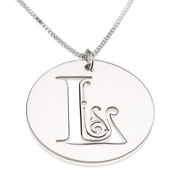 Sterling Silver Disk Initial Necklace - jeweleen - 1