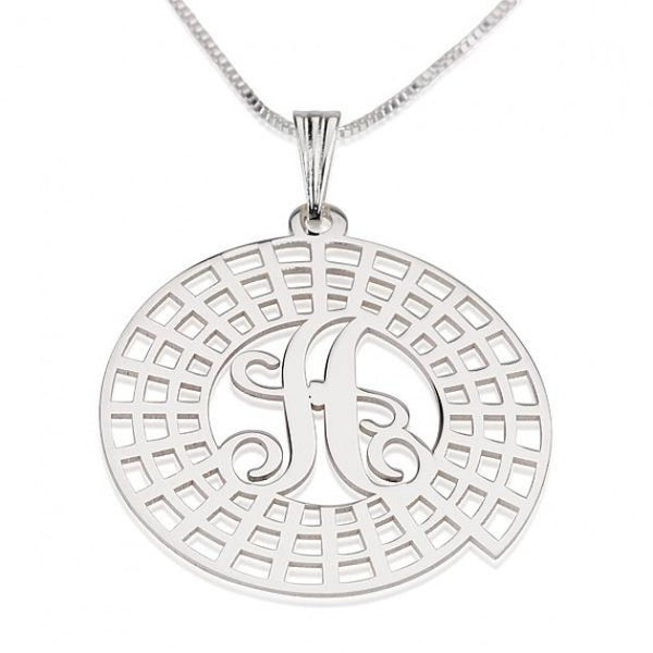 Sterling Silver Crop Circle Initial Necklace - jeweleen - 1