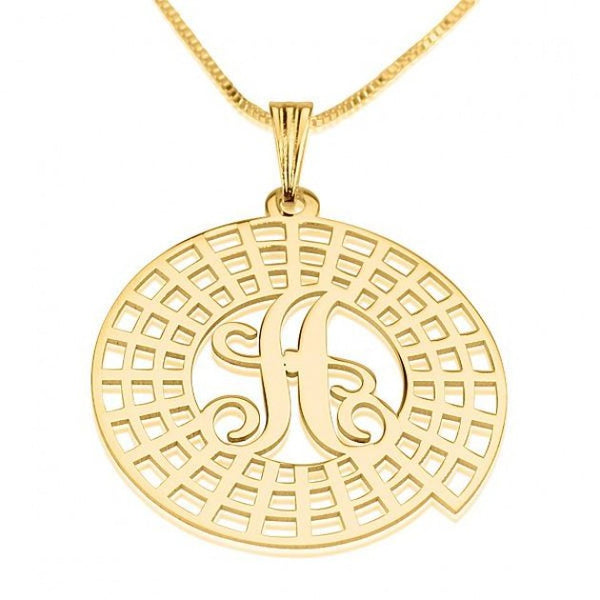 24K Gold Plated Crop Circle Initial Necklace - jeweleen - 1