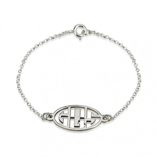 Sterling Silver Capital 3 Letters Negative Font Monogram Bracelet - jeweleen - 1