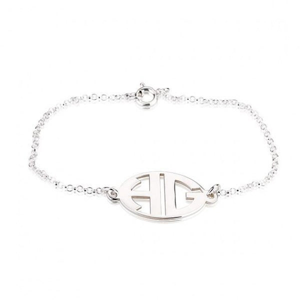 Sterling Silver Capital Border 2 Letters Monogram Bracelet - jeweleen - 1
