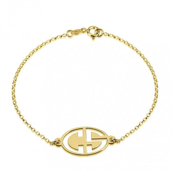 24k Gold Plated Capital 2 Letters Negative Font Monogram Bracelet - jeweleen - 1