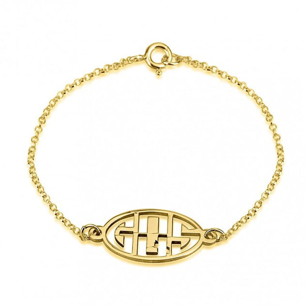 24k Gold Plated Capital 3 Letters Negative Font Monogram Bracelet - jeweleen - 1