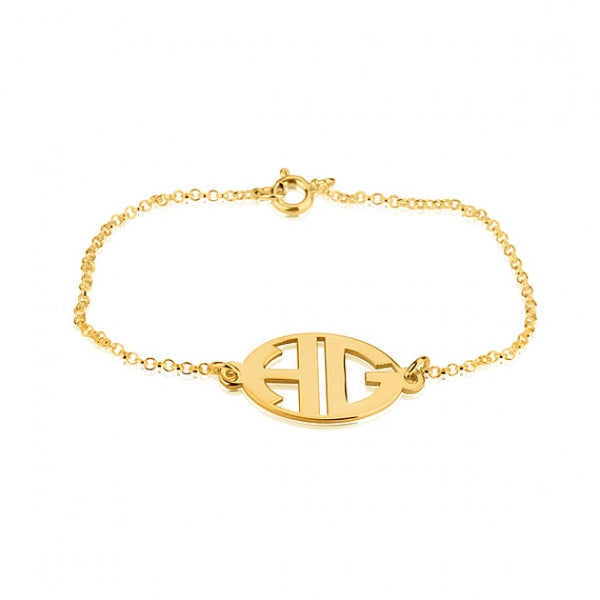 24k Gold Plated Capital Border 2 Letters Monogram Bracelet - jeweleen - 1