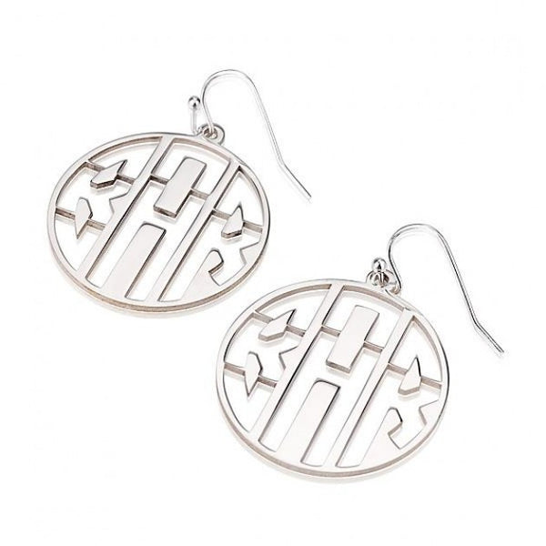 Sterling Silver Capital 3 Letters Negative Font Monogram Earrings - jeweleen