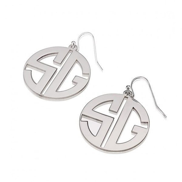 Sterling Silver Capital Border 2 Letters Monogram Earrings - jeweleen