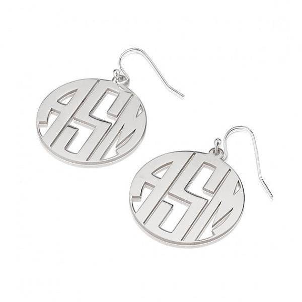 Sterling Silver Capital Border 3 Letters Monogram Earrings - jeweleen