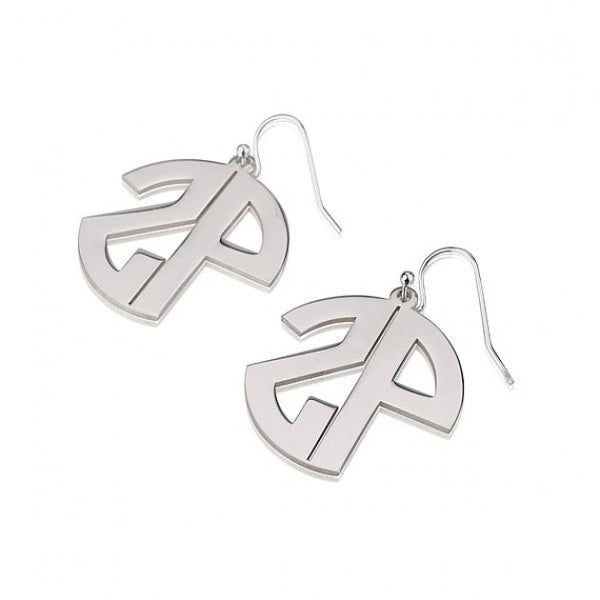 Sterling Silver Capital No Border 2 Letters Monogram Earrings - jeweleen