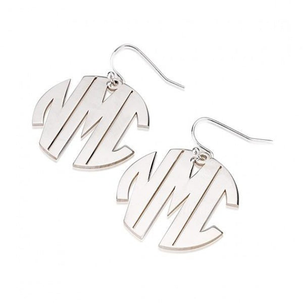 Sterling Silver Capital No Border 3 Letters Monogram Earrings - jeweleen