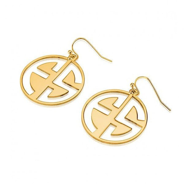 24k Gold Plated Capital 2 Letters Negative Font Monogram Earrings - jeweleen