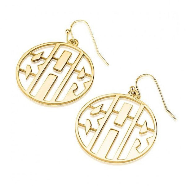 24k Gold Plated Capital 3 Letters Negative Font Monogram Earrings - jeweleen