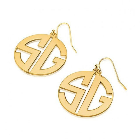 24k Gold Plated Capital Border 2 Letters Monogram Earrings - jeweleen