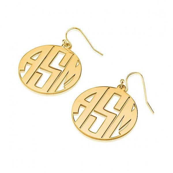 24k Gold Plated Capital Border 3 Letters Monogram Earrings - jeweleen