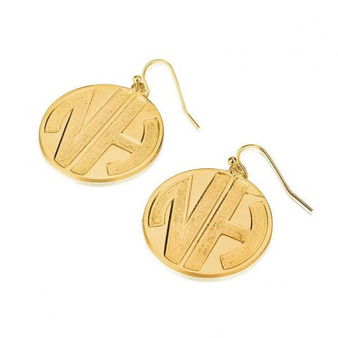 24k Gold Plated 2 Sparkling Letters Monogram Earrings - jeweleen