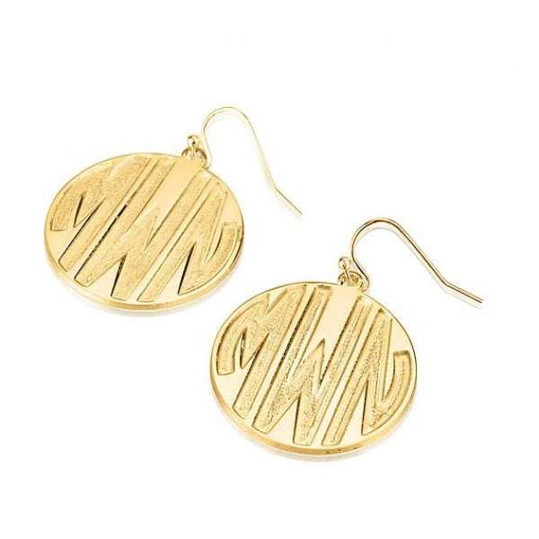 24k Gold Plated 3 Sparkling Letters Monogram Earrings - jeweleen