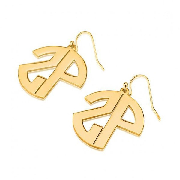 24k Gold Plated Capital No Border 2 Letters Monogram Earrings - jeweleen