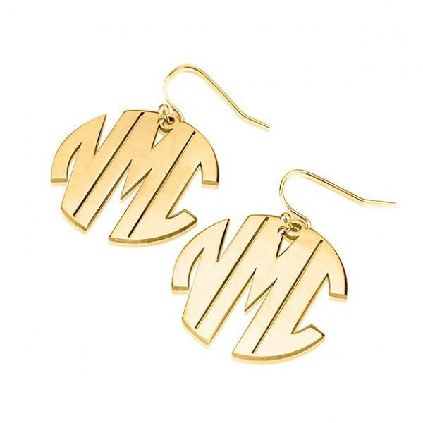 24k Gold Plated Capital No Border 3 Letters Monogram Earrings - jeweleen