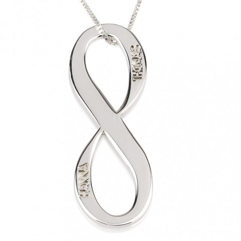 Sterling Silver Vertical Two Names Infinity Necklace - jeweleen - 1