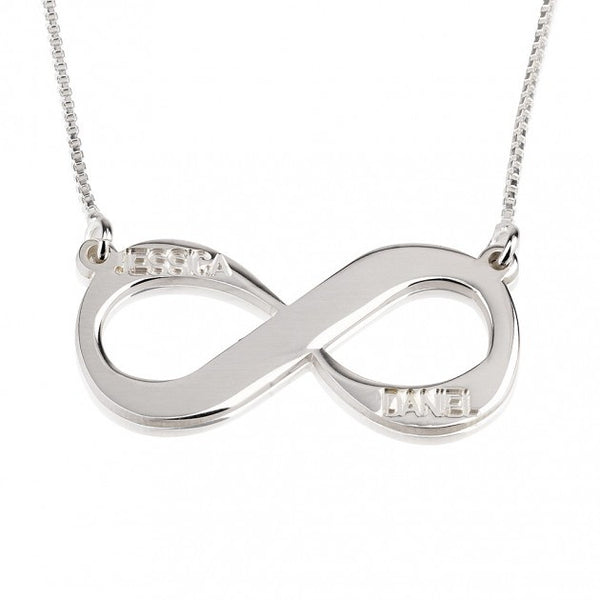 Sterling Silver Two Names Infinity Necklace - jeweleen - 1