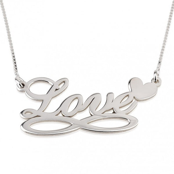 Sterling Silver Heart & Love Infinity Necklace - jeweleen - 1